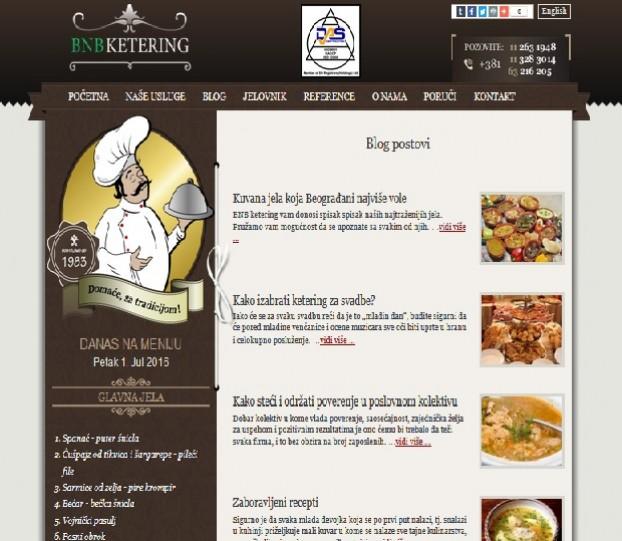 Kreiranje sadrzaja za sajt BNB Ketering Beograd