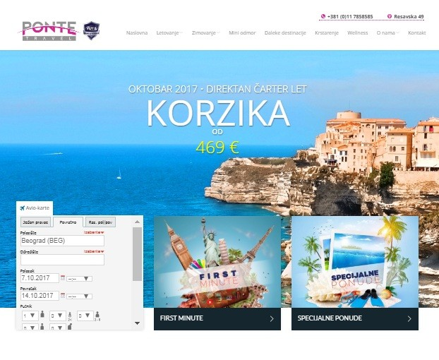 SEO optimizacija sa sajt Ponte Travel