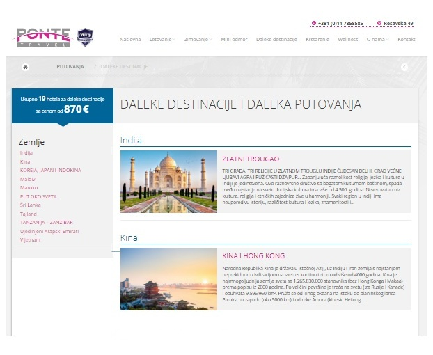 Optimizacija sajta Ponte Travel