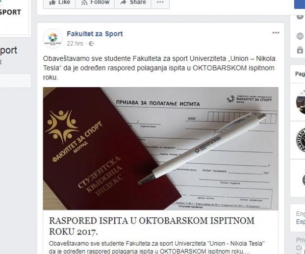 vođenje fb stranice fakulteta za sport