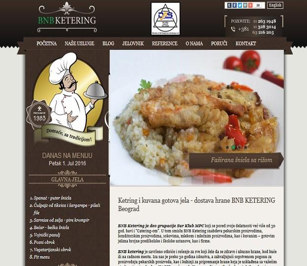 Izrada web sajta za BNB Ketering Beograd